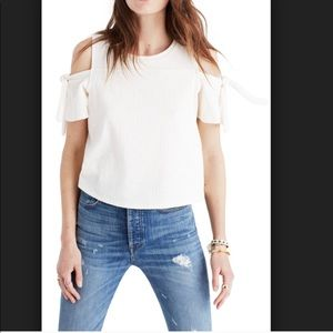 Madewell ivory open shoulder top w/ cute ties XXS